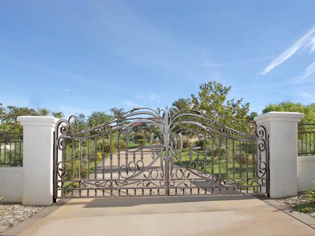 Custom made wrought iron estate gate