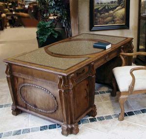 Office Desk - Tuscan Executive Wood Granite Desk - CFD301