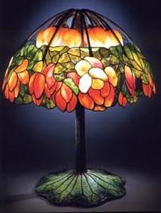 Lamp - L C Tiffany Pink Lotus Cir 1900  NY- TSL64