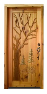 Wood Door Custom - Hand Carved Log Cabin In The Woods - 2335HC