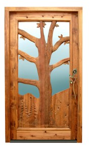Hand Carved Wood Door - Outdoor Tree Design -  2339HC
