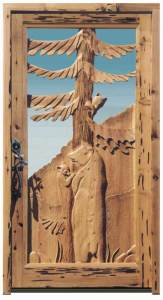 Hand Carved Fine Art Door - Mama Bear and Cubs -  2343HC