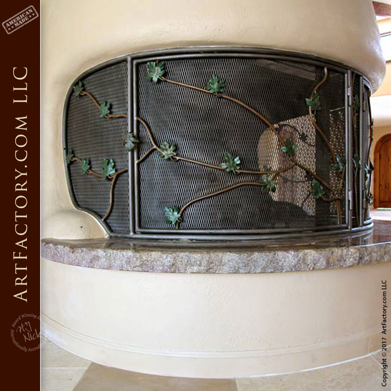 custom ivy design fire place screen