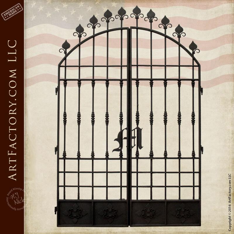 Fine Art Wrought Iron Gate - Custom Monogram Spade Design