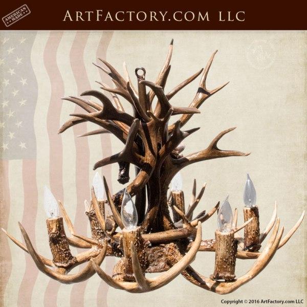 Natural Deer Antler Chandelier - Custom Ceiling Lighting - LA800