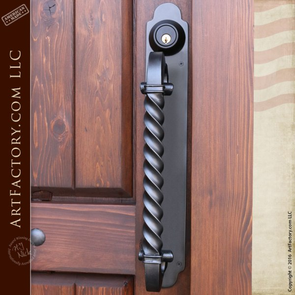 Offset Spiral Twist Door Pull With Matching Hand Forged