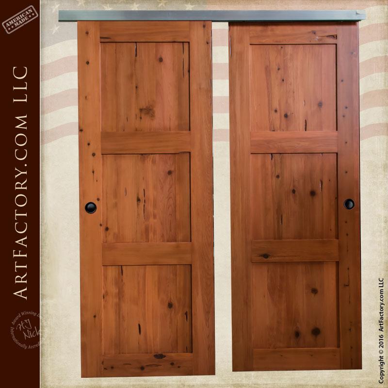 Natural Cedar Custom Wood Sliding Doors, Double Doors - SDD987