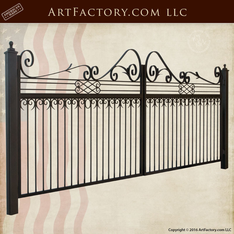 Wrought Iron Custom Driveway Gate With Scroll Work - 1245GGR