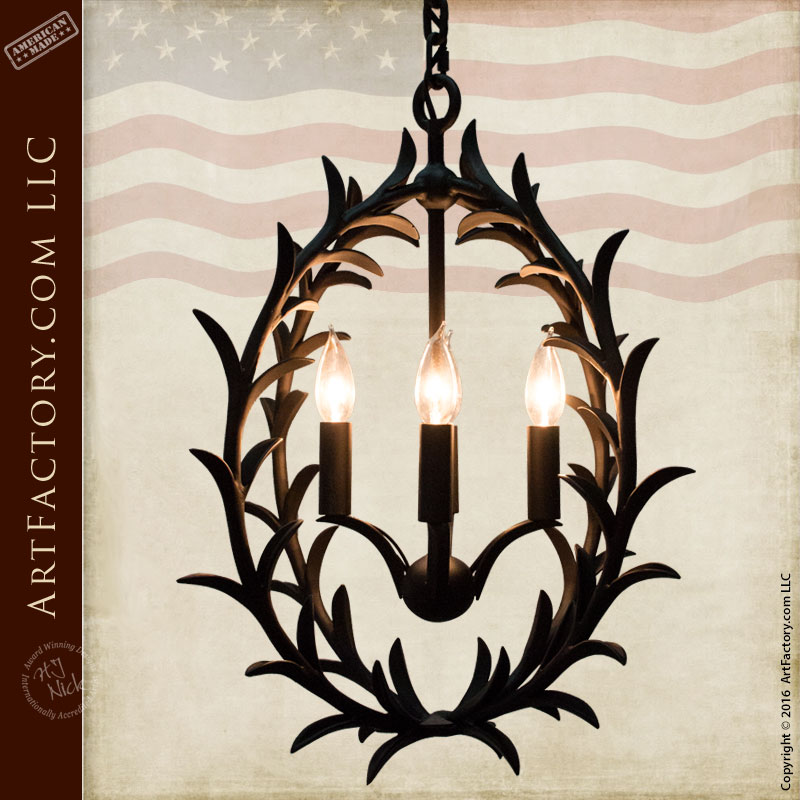 Chandelier Custom Master Hand Forged Iron Leaves - ILC800