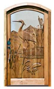 Door - Blue Heron Hand Carved Door - Castello Savasta - 3990HC