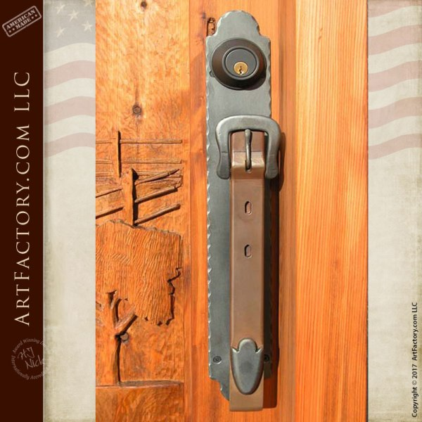 Door Pull - Hand Forged Buckle And Strap - HH256
