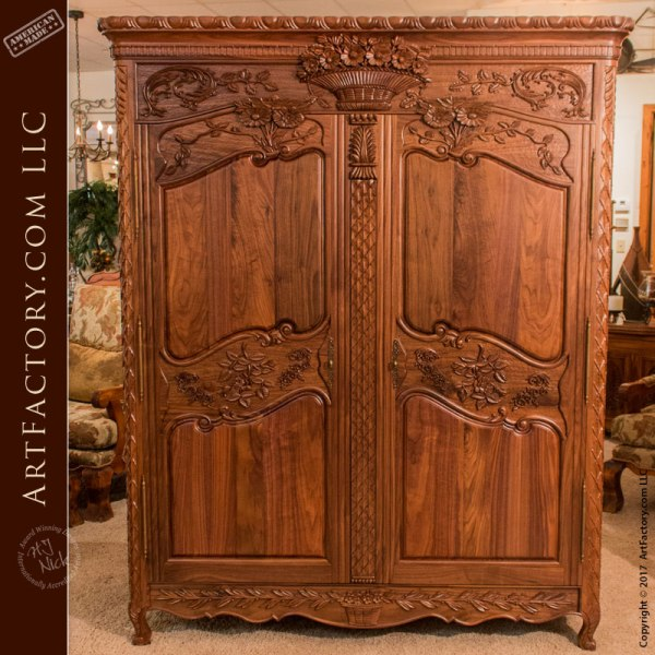 Solid Walnut Master Hand Carved Custom Design Armoire - WA678