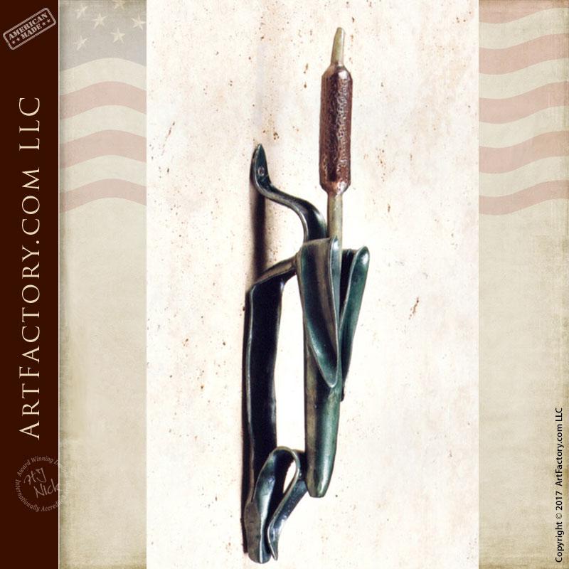 Door Pull - Wrought Iron Flowering Cattail - HH053