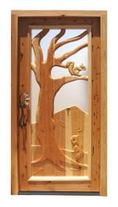 Carved Wood Door - Tree Squirrels Design  - 9343HC