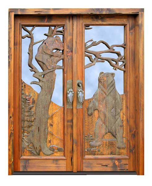 Doors - Bears At Play - Grizzly Bear 20th Cen America - 2345HC ... & Rustic doors with bears trees