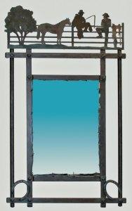 Western-Cowboy -Hand Forged Iron-Mirror - CBM634