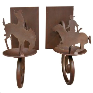 Cowboy Wall Sconce - Hand Forged Iron Patina Finished - LS060