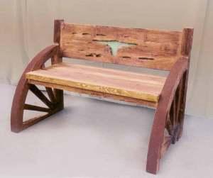 Bench -Solid Wood Wagon Wheel Bench - CBB650