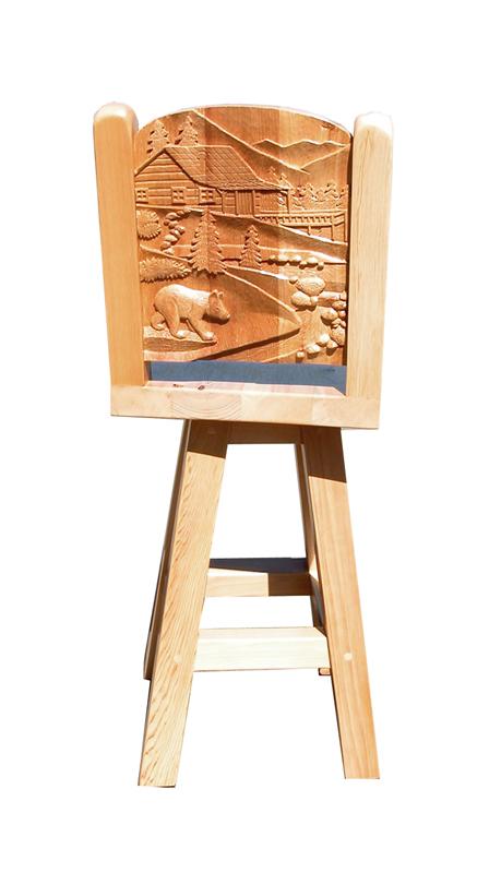 Bar Stool-  Hand Carved Solid Wood Bar Stool - CBS669