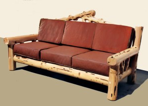 Lodge Style Sofa- Hand Carved Western Wilderness Theme - CBC622A