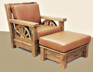 Cowboy Rustic Chair And Ottoman Handmade In America - CBC623A
