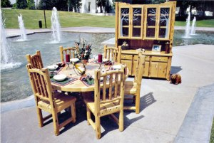 Dining Table - Rustic Lodge Table, Chairs with Hutch - MLT503