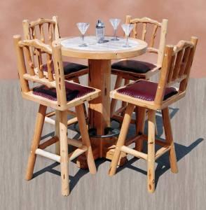 Bar Stool - Carved Cabin Bar Stools Table Set - MLT685