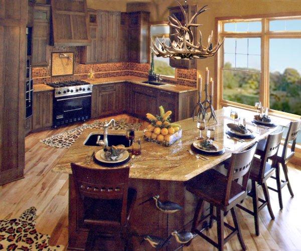 Custom Kitchen Cabinets Antler Chandelier Bar Stools KIT19