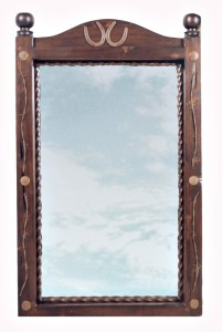 Cowboy Style Wall Mirror / Genuine Lucky Horse Shoes - SWM178B