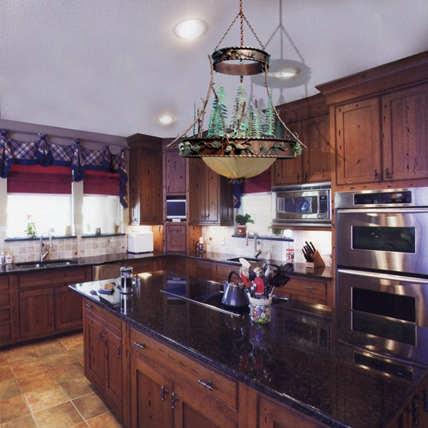 Kitchen Cabinets - Chandelier - Counter Tops -  KIT993