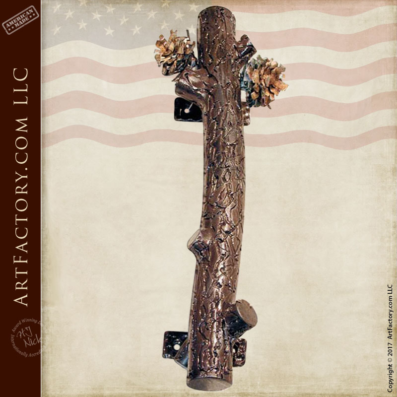 Custom Pine Branch Door Pull: Hand Forged Iron Handle With Pine Cones U2013  HH026B