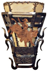 Hand Forged Wall Lighting Sconce w/ Bucking Bronco - LS043