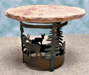 Table - Rose Stone And Hand Forged Iron - SWLT168B