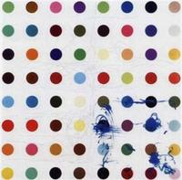 Damien Hirst (Bristol England, UK b.1965) Tixylix, 1998.  Household gloss and wax crayon on canvas, 59 7/8 x 59 7/8 in.
