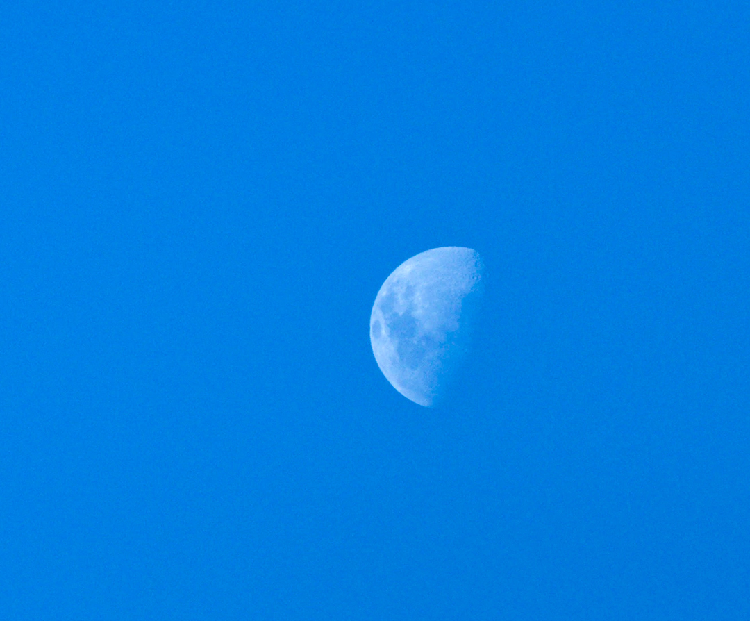 The moon in an all-day sky