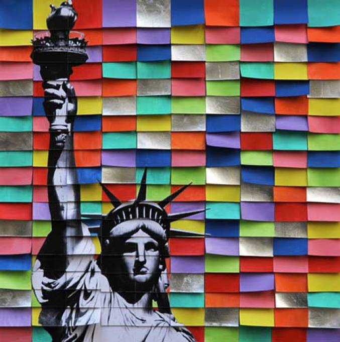Liberty 1, 2017, tecnica mista su tela, 50 x 50 cm