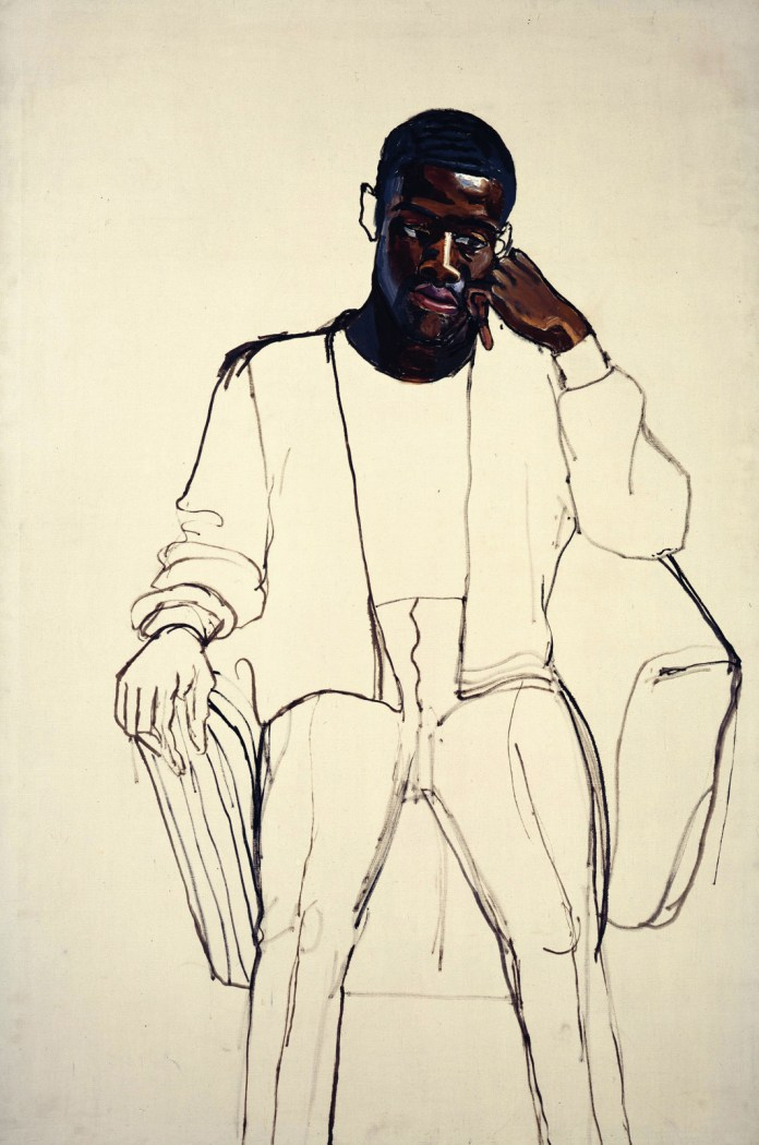 "Alice Neel, Black Draftee (James Hunter), 1965, oil on canvas, 60 × 40"". © The Estate of Alice Neel."