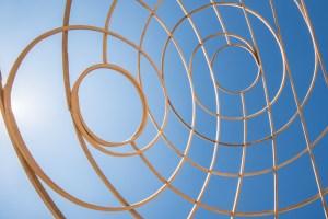 Wooden circular shapes.