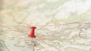 A pin in a map of cumbria.