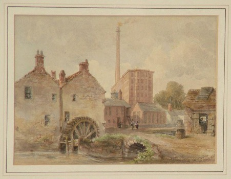 A painting by William Henry Nutter (1821-1872) showing Denton Mill and Dixon's Chimney in Carlisle. The colours are brick-brown, with a mill wheel in the foreground, and a tall mill building with a very tall, narrow chimney with smoke coming out of it.