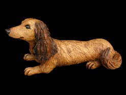 "Long-haired Dachshund - approx. 8""H x 6""W x 15""L"
