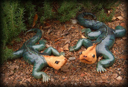 """Lizards large approx. 5""""H x 15""""W x 24""""L small approx. 4""""H x 12""""W x 19""""L"""