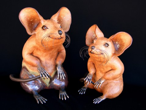 "Indoor / Outdoor Mice with Bronze Hands & Feet Small: approx. 14""-15""H x 12""W x 15""D Med: approx. 15""-18""H x 12""W x 15""D Large: approx. 21-23""H x 13""W x 21""D"