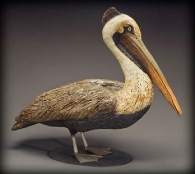 """Pelican with metal legs, feet & base - approx. 33""""H x 16""""W x 34""""L"""