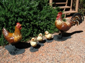 "Rooster, Hen & Chicks - approx. 16""-18""H & 8""H"