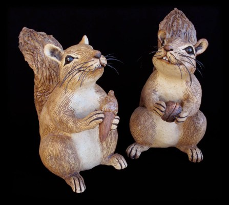 "Table-size Squirrels With Nuts or Without - approx. 8""H"