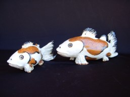 "Koi medium approx. 8""H x 5.5""W x 18""L small approx. 6""H x 4.5""W x 12""L"