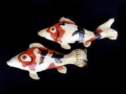 """Koi wall hanging - approx. 12""""H x 19-21""""W x 3""""D"""