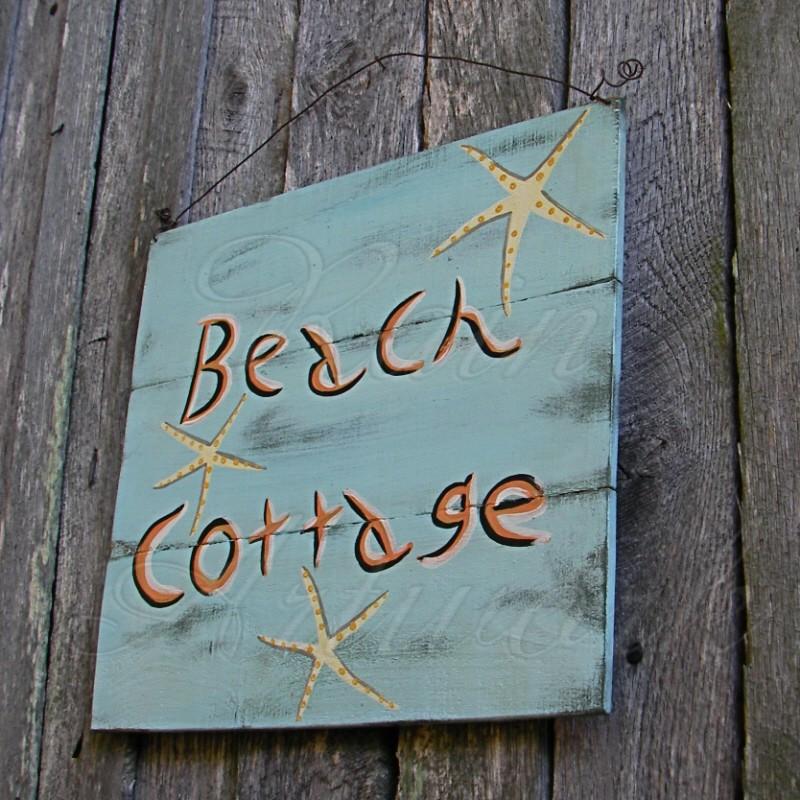 Beach Cottage Sign Primitive Folk Art Original Starfish