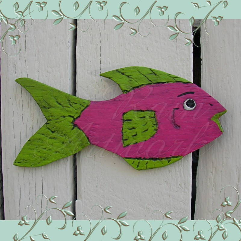 Primitive Folk Art Fish Cutout Funky Beach Cottage Pink
